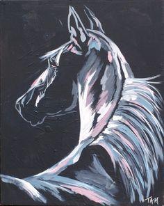 Pintura del caballo durante la noche  Claro de luna