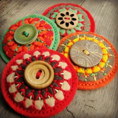 Brooch of felt with a button