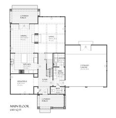 Traditional Style House Plan - 3 Beds 2.5 Baths 2728 Sq/Ft Plan #901-52 Floor Plan - Main Floor Plan - Houseplans.com