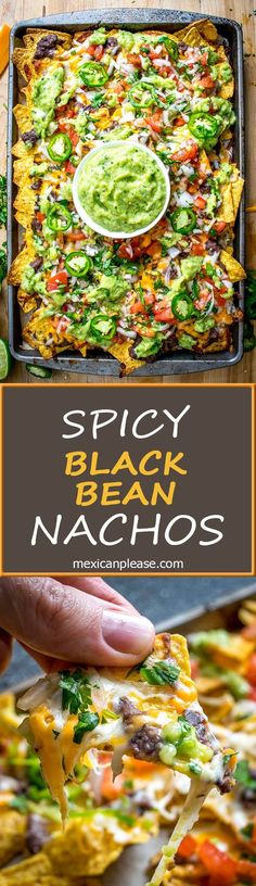 It s tough to beat the combo of warm tortilla chips melted cheese and spicy black beans in other words nachos! these beans have some kick built into them from chipotles in adobo and they are beyond delicious mexicanplease com wraps Veggie Recipes, Mexican Food Recipes, Appetizer Recipes, Vegetarian Recipes, Cooking Recipes, Healthy Recipes, Vegetarian Cooking, Vegetarian Nachos, Meal Recipes