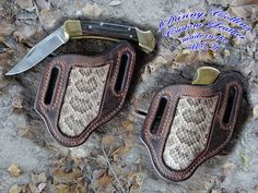 This knife sheath was made here at my shop in Oklahoma from top quality buffalo leather and inlayed with genuine rattle snake giving it a unique look and feel. The sheath is lined with the finest American made veg tanned leather available insuring it will last for years. This sheath fits larger folders like the buck 110 and other similar sized folding knives. American Heritage Edition Made in the USA