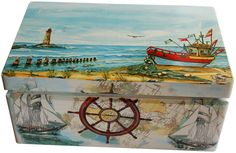 Krikštadėžės išmatavimai: 35x24x15 cm. Rankų darbo krikštadėžė jūros tema - puiki idėja krikštynų dovanai.www.dekostudija.lt
