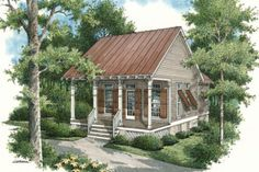 Cottage Style House Plan - 1 Beds 1.00 Baths 569 Sq/Ft Plan #45-334 Exterior - Front Elevation - Houseplans.com