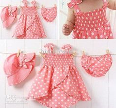 ღ¸.•❤ Wholesale Children's Outfits & Sets - Buy Free Shipping!! 10 Sets Baby Girls Summer Clothes Sets Dress+sun Hat+underwear Polka Dot, $11.38 | DHgate
