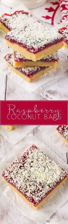 These Raspberry Coconut Bars are super simple to make and with their shortbread base, raspberry jam middle and dessicated coconut topping, they are a combination of sweet, crunchy and tart in one portable dessert! Tray Bake Recipes, Baking Recipes, Cookie Recipes, Dessert Recipes, Shortbread Recipes, Baking Ideas, Healthy Desserts, Coconut Bars, Raspberry And Coconut Cake