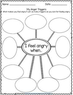 Anger Management Worksheets Identifying Triggers for Anger - Free by Pathway 2 Success Anger Management Worksheets, Counseling Worksheets, Therapy Worksheets, Counseling Activities, Therapy Activities, Classroom Management, Anger Management Activities For Kids, Stress Management, Emotions Activities