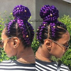 Purple Goddess braids into a bun