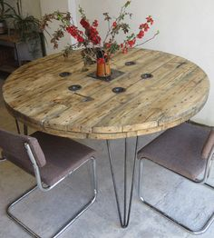 Large Round Industrial Style Cable Reel and Steel Hairpin Leg Table discovered on Derelict Design - would look lovely in our conservatory