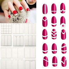 eshion 1Set 18 Styles French Stencil Nail Art Form Fringe Guides Manicure Stickers Tips Tape  100% Brand New.  Material: Paper  Color: White  Patterns: Sent By Random  Overall Size: Approx.. 6.5×7.5cm/2.5×2.9inch  Type: Nail Art  Subtype: Decals/Transfers Sticker Guides  Effect: French  Style Quantity: 18 Styles  Quantity: One Pack/18 Styles  Package Weight: 11g  Occasion: Spa, Home, Salon, etc.  Easy to operate  The easiest and most efficient way to do your nail tips for French mani..