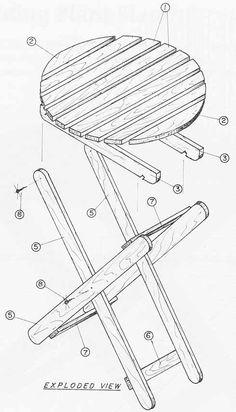 Construya sillas portatiles noviembre 1985 002a lista de for Silla escalera plegable planos