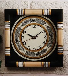 Black Madhubani Painted Wall Clock