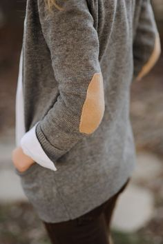 Gray cardigan with elbow patches