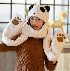 4db045f82fb Panda hat scarf and gloves all in one for girls animal cosplay winter hats