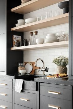 Wet Bar Ideas of the Rye Project STUDIO MCGEE using black cabinets, brass hardware, white tile and lots of shelf styling Küchen Design, Layout Design, Interior Design, Kitchen Interior, Kitchen Decor, Kitchen Modern, Kitchen Shelves, Kitchen Wet Bar, Teal Kitchen