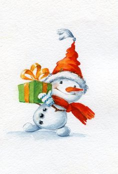 Pin by Sherri Finney on Christmas Cards (With images) Watercolor Christmas Cards, Christmas Drawing, Christmas Paintings, Watercolor Cards, Christmas Snowman, Winter Christmas, Vintage Christmas, Christmas Crafts, Christmas Decorations