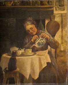 """Tea for Kitty and Me"".'Old woman pouring tea', unknown artist, century. I think kitty takes milk! Illustrations, Illustration Art, She And Her Cat, Animal Gato, Cuppa Tea, Tea Art, My Tea, Old Women, Oeuvre D'art"