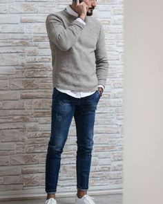 jeans with v neck over shirt