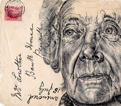 New Portraits Drawn on Vintage Envelopes by Mark Powell. Powell executes each drawing with a standard Bic Biro pen using stamped and faded envelopes that traversed the European postal system more than a century ago. Biro Drawing, Drawing Sketches, Art Drawings, Lady Drawing, Sketching, Dream Drawing, Mark Powell, Realistic Sketch, Art Aquarelle