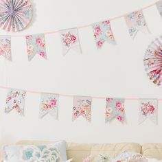 Romantic Bunting, Vintage Hen Party Accessories, Hen Do Decorations Paper Bunting, Bunting Garland, Paper Fan Decorations, Engagement Celebration, Paper Fans, 1st Birthday Girls, Pinwheels, Pattern Making, Pastel Colors