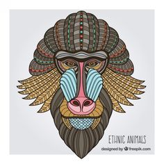 tribal retrato de babuino Vector Gratis