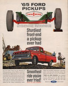 1965 Ford Pickup truck print ad Red model with Twin I by Vividiom, $9.00