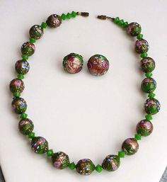 Venetian Glass Bead Necklace And Matching by Kissisjustakiss #ecochic #vintage #jewelry