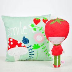 kids decor mint pillow and Strawberry doll by PinkNounou