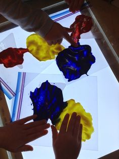 Exploring the primary colours of red, yellow and blue, with no mess!  Putting the paint inside a zip lock bag can make the activity mess free. It also allows the children the sensory experience of feeling the paint move and as the manipulate it around the bag. The children also get to observe as the colours inside the change.
