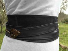 Black LEATHER BELT black obi belt waist belt by ScandaloAlSole, €79.00