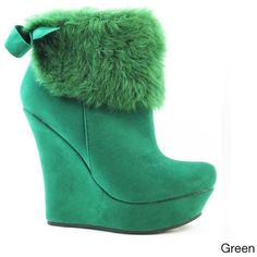 Nicole Simpson Women's 'Rosalie-4' Dressy Booties ($50) ❤ liked on Polyvore featuring shoes, boots, ankle booties, ankle boots, green, wedge heel boots, pointy-toe ankle boots, wedge booties, platform wedge bootie and short boots