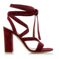 Gianvito Rossi Janis High Sandals (2.210 RON) ❤ liked on Polyvore featuring shoes, sandals, heels, block heel shoes, red leather shoes, tie sandals, red leather sandals and block heel sandals