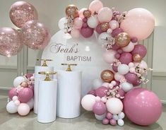 💕 Teah's Baptism 💕 Thank you to the beautiful mom Diane for having us be part of her daughters baptism . Balloon Backdrop, Balloon Garland, Balloon Decorations, Birthday Party Decorations, Birthday Parties, Balloon Ideas, Birthday Balloons, Christening Balloons, Christening Decorations