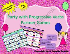 Party with Progressive Verb Tenses Partner Game (Common Core Aligned)  from Tamelia's Teaching Treasures on TeachersNotebook.com -  (12 pages)  - This game meets the CCSS standard L.3.1b. Let your students practice their skills with a fun partner game.