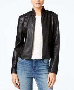 Armani Exchange Faux-Leather Jacket  - Black M