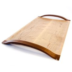 Bentwood Serving Tray - Walnut and Curly Maple Wood with Brass details - Wedding, Shower, Housewarming Gift