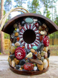 Fathers Day Beer Cap Birdhouse featuring by WinestoneBirdhouses, $55.00