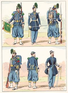 French; Imperial Guard, Chasseurs a Pied, 1854 from Hector Large's Le Costume Militaire Vol III