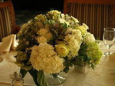 White and green centerpiece of roses, hydrangea, ornamental kale by www.flowercupboard.com