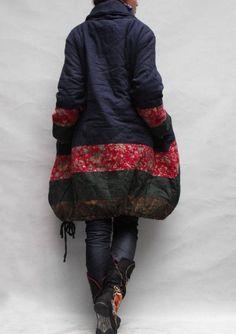 Winter loose padded coat/ linen babydoll padded dress -MaLieb on etsy