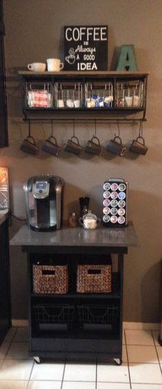 Coffee Bar made from old microwave cart makeover. Shelf from Hobby Lobby. Makeover rolling tv stand from trailer?