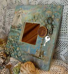 """Купить Зеркало-ключница """"Белый парус"""" - морская волна, море, морская тема, морской стиль"""