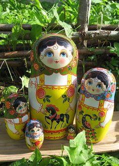 A set of Matryoshkas - Russian nesting dolls.