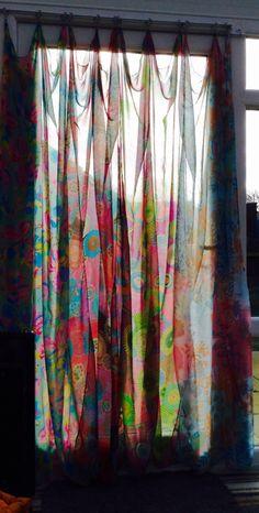 Scarf curtain..                                                       … Scarf Curtains, Diy Curtains, Boho Diy, Bohemian, Patchwork Curtains, Diy Scarf, Curtain Ideas, Conservatory, Scarves