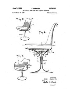 Print of original patent application rendering submitted by Eero Saarinen for his Tulip Chair.