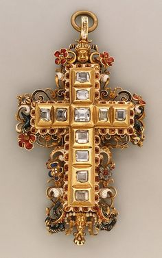 Cross pendant, partially enameled gold set with diamonds, 1550-75, probably southern German.