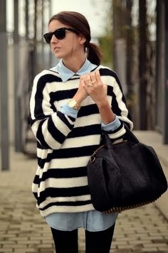 chambray + oversized striped sweater