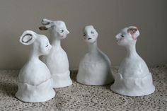 """porcelain bells 11 """"small gathering"""" group of 4 small sculptures Small Sculptures, Happy Together, Porcelain, Window, Artists, Pure Products, Group, Awesome, Handmade"""