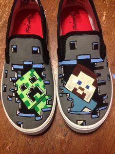 Minecraft Creeper Steve Alex TNT inspired slide on sneakers