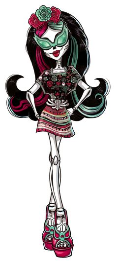 Monster High: Skelita Calaveras! Skelita Calaveras is a calaca from Hexico. She is a talented artist and designer, who believes very strongly in family values.