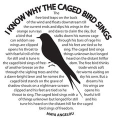"""Maya Angelou's five-volume autobiography commenced with """"I Know Why the Caged Bird Sings"""" in 1970. Description from pinterest.com. I searched for this on bing.com/images"""